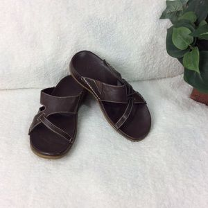 Clarks Brown Open-Toe Side-On Sandals Size 6 M